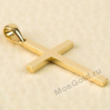 Крестик желтое золото