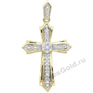 Крестик золотой женский с бриллиантами