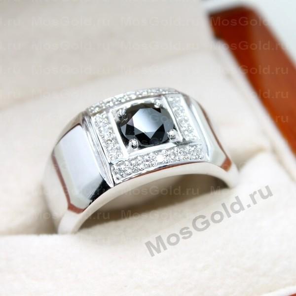 ювелирная мастерская: Мужское кольцо с чёрным бриллиантом