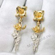Оригинальные серьги с розами