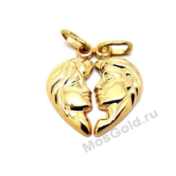 Золотой кулон сердце на двоих