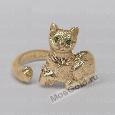 кольцо с кошкой золото