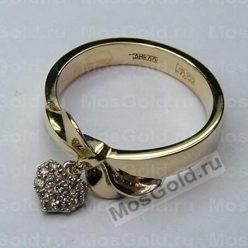 кольцо с подвеской сердце