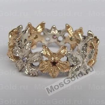 кольцо лилия с бриллиантами