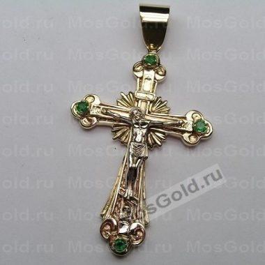 Нательный крест с изумрудами