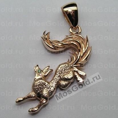 Золотой кулон в виде лисы с изумрудами