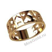 Широкое кольцо с сердцем
