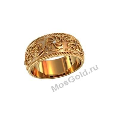 Широкое кольцо с узорами и солярным знаком