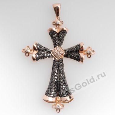 Крестик с черными бриллиантами